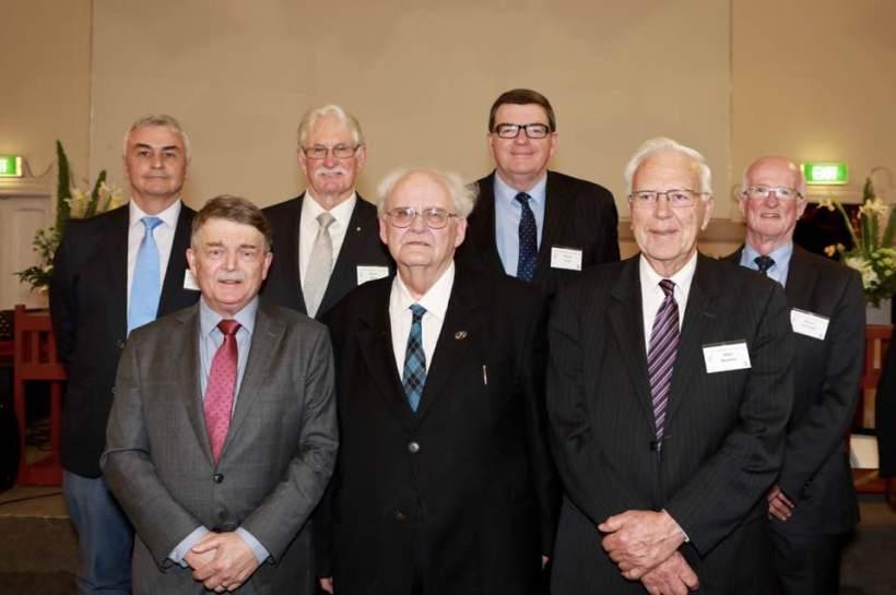 John Wilson with former Moderator-Generals (Back row, l-r) David Jones, Robert Benn, David Cook, Bruce Christian. (Front row, l-r) John Wilson, Bob Thomas, Allan Harman.
